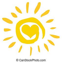 Yellow Spiral And Heart Sun