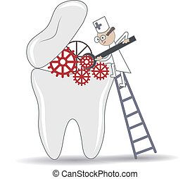 Abstract Tooth treatment procedure, dental conceptual illustration