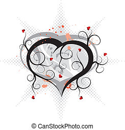 Abstract valentines ornament, vector