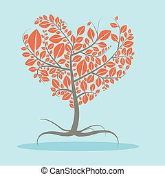 Abstract Vector Flat Design Tree with Roots