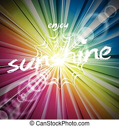 Abstract vector shiny background with sun flare.
