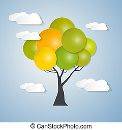 Abstract Vector Tree with Sky, Clouds