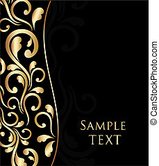 Vector abstract background with wave and floral ornament