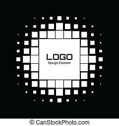 Abstract White Halftone Logo Design Element, vector illustration