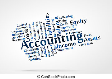 Accounting word cloud with data sheet background