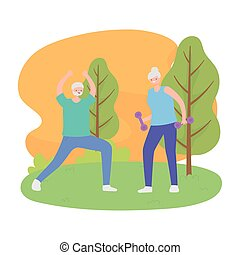 activity seniors, happy elderly couple doing exercises with beautiful nature view
