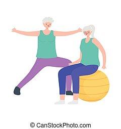 activity seniors, happy elderly women practicing exercises with ball