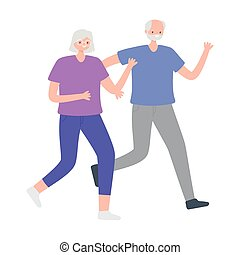 activity seniors, happy older couple walking activity sport
