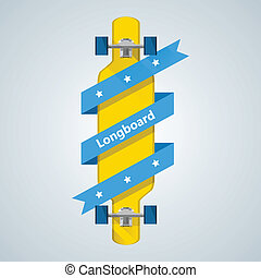 Flat vector illustration of yellow longboard with blue ribbon with stars and word Longboard.