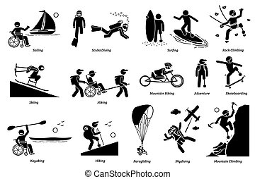 Adaptive recreational activities for handicapped or disabled people stick figure icons.