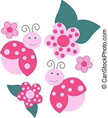 flower and ladybird pattern