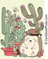 adorable hedgehog with cactus
