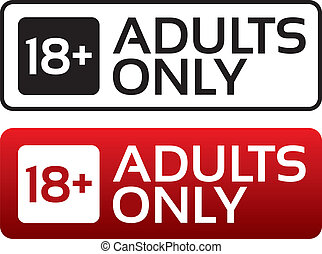 Adults only content button. Vector sticker. Age limit stamp.