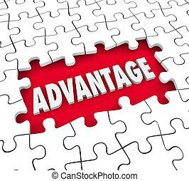 Advantage Puzzle Piece Hole Competitive Edge Handicap Leadership Position