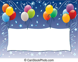 Balloons decoration with a blank banner and shining stars, vector illustration.