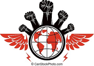Advertising poster composed with raised clenched fists of angry people and Earth globe, vector illustration. People demonstration, fighting for their rights and freedom. Social revolution concept.