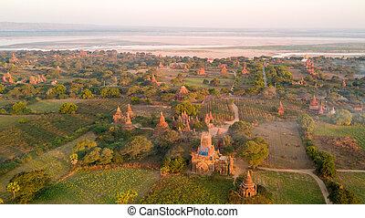 Aerial view of Bagan plain in Myanmar
