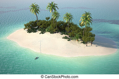 aerial view of a caribbean desert island in a turquoise water with a woman diving as a concept for quiet vacations