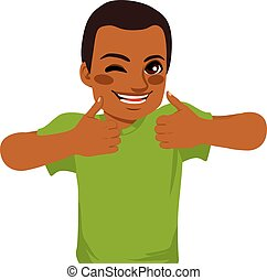 African American young man making positive thumbs up sign with both hands