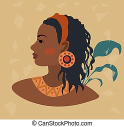 African American woman in profile in traditional costume. Vector illustration