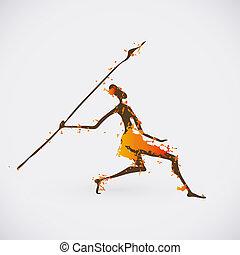 African Hunter Tribal Vector Illustration. Traditional Culture Creative Symbol.