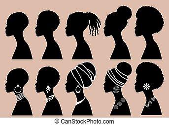 African Women, black girls, profile silhouettes, vector set
