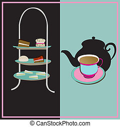 Afternoon Tea, vector retro background with a cake-stand and a teacup for a vintage tea-party