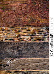 Aged wooden planks background from above