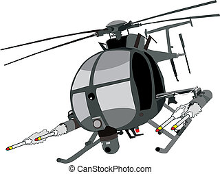 vector of AH-6 helicopter firing missiles