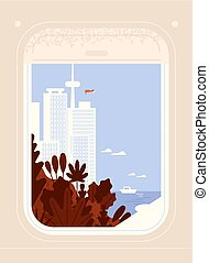 Aircraft or plane window view on seaside city downtown with skyscrapers and modern buildings. Around the world trip, airplane travel, journey through picturesque places. Flat vector illustration.