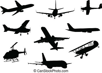 A collection of aircraft silhouettes.