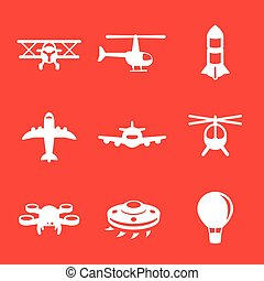 Aircrafts icons, airplane, aviation, air transport
