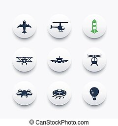 Aircrafts icons set, aviation, air transport