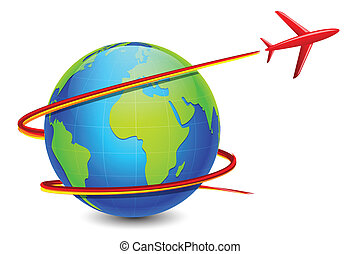 illustration of airplane flying around earth