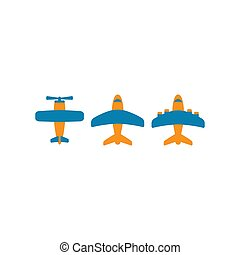Airplane colorful vector cartoon icon set