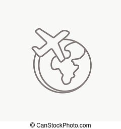 Airplane flying around the world line icon.