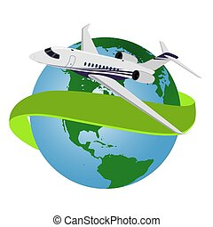 Airplane flying around the world, vector illustration
