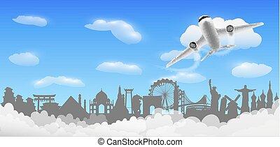 Airplane flying around the world with world landmark