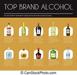 Alccohol wine list template for bar or restaurant menu design vector illustration. Creative artistic top brand background with vine bottle bar drink glass decoration.