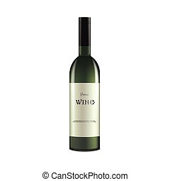 Alcohol wine bottle with blank label - mockup realistic vector illustration isolated.