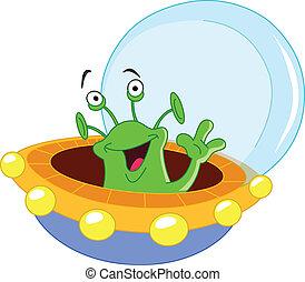 Cartoon alien waving hello