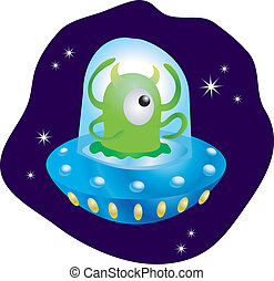 Alien in spaceship