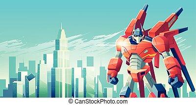 Alien robot warrior in metropolis cartoon vector