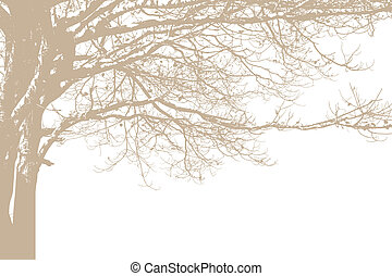 Alone tree silhouette. Vector
