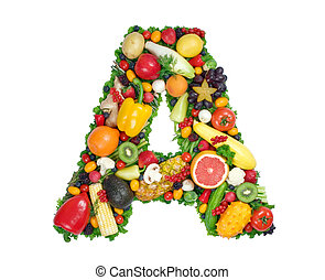 Letter A made of fresh fruits and vegetables