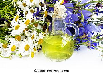 medicinal plants and herbs essential oil transparent bottle, alternative medicine concept