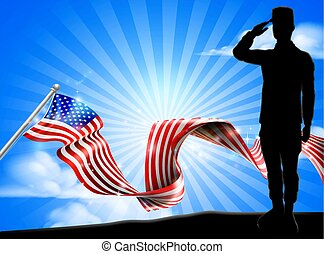 American Flag Soldier Saluting Background
