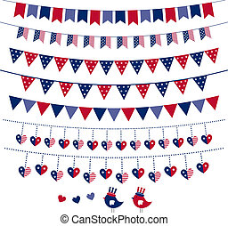 American flag themed vector bunting and garland set