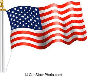 American Flag on flag Pole Waving