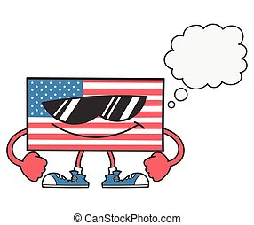 American flag with sunglasses and speech bubble